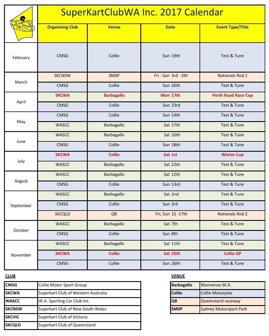 SKCWA 2017 Calendar